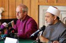 Archbishop Justin Welby and Shaykh Dr Ahmad al-Tayyeb at a press conference at Lambeth Palace, 10 June 2015. (Picture: Lambeth Palace)