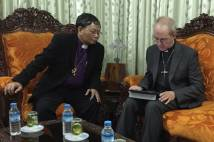 Archbishop Justin with Archbishop Stephen in Yangon, Myanmar.