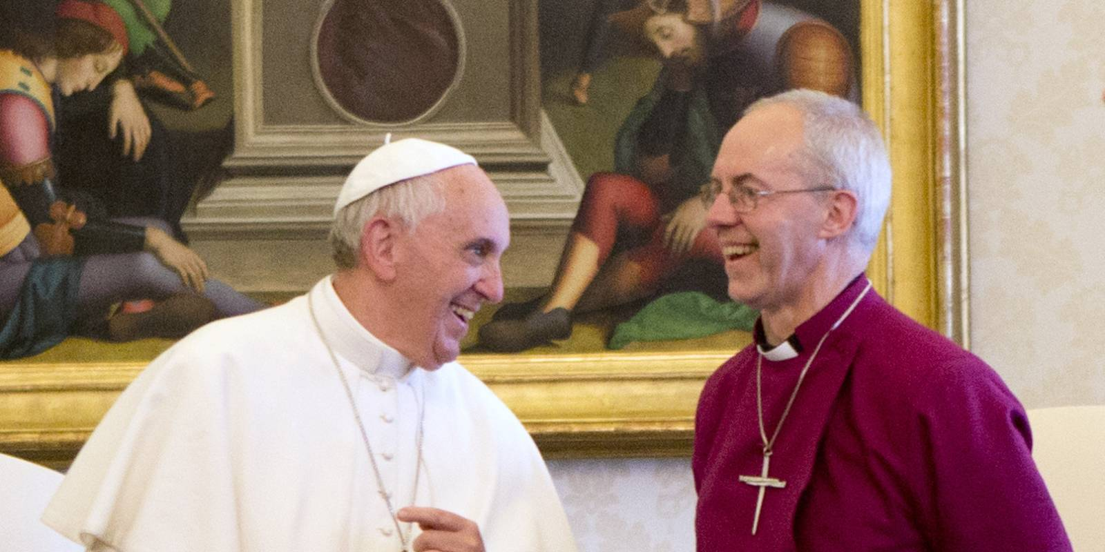 Justin Welby with Pope Francis laughing