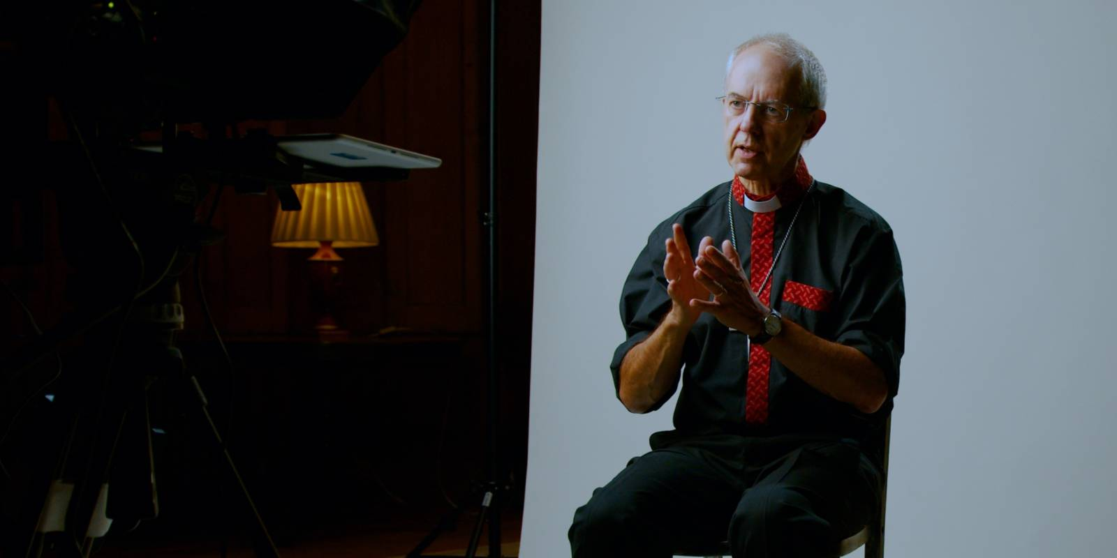 Justin Welby recording a video message