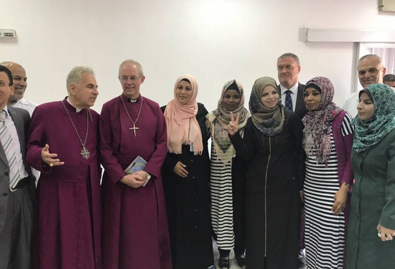 Archbishop Justin Welby and Archbishop Suheil Dawani with members of Gaza's Christian community at Ahli Arab Hospital, Gaza City, 4th May 2017.