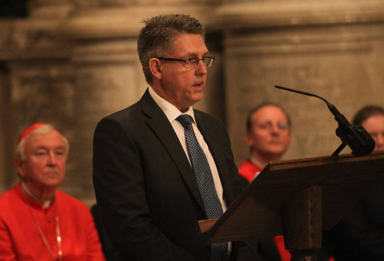Kevin Hyland at speaking about slavery during at service at Westminster Abbey