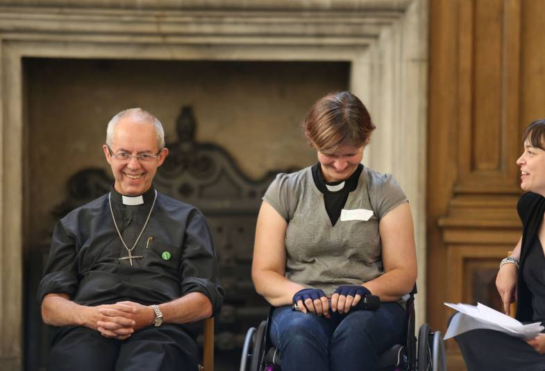 Justin Welby with the Revd Katie Tupling and Kate Monaghan