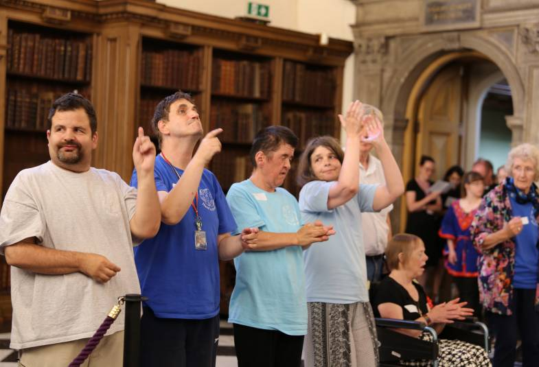 The Hand in Hand group lead worship at the start of the Value and Belonging conference at Lambeth Palace