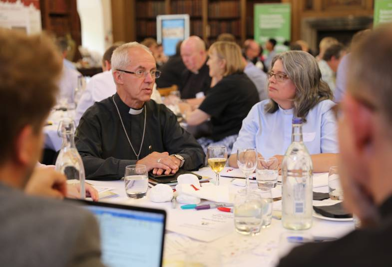 Justin Welby taking part in a group discussion at the Value and Belonging conference