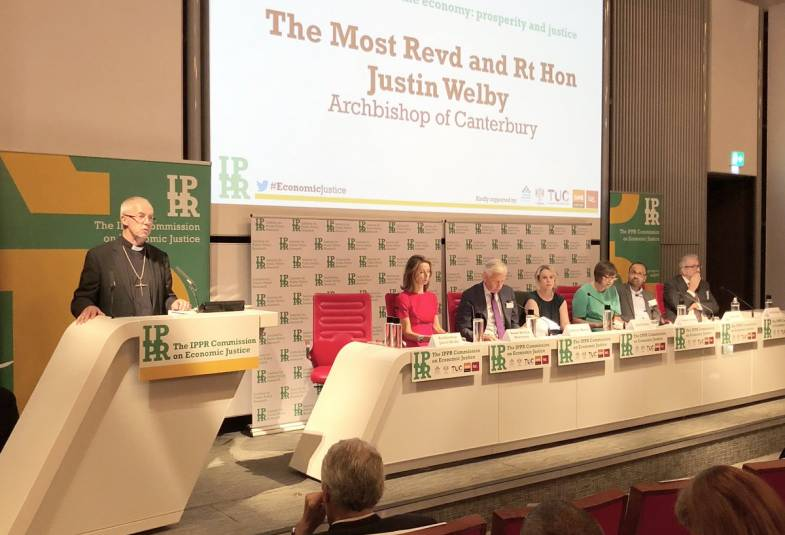 Justin Welby at the launch of IPPR's report on economic justice