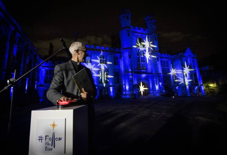 Justin Welby and the Community of St Anselm with the Lambeth Palace Christmas lights