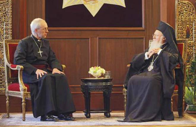 Archbishop Justin and Patriarch Bartholomew in Istanbul, January 2014.