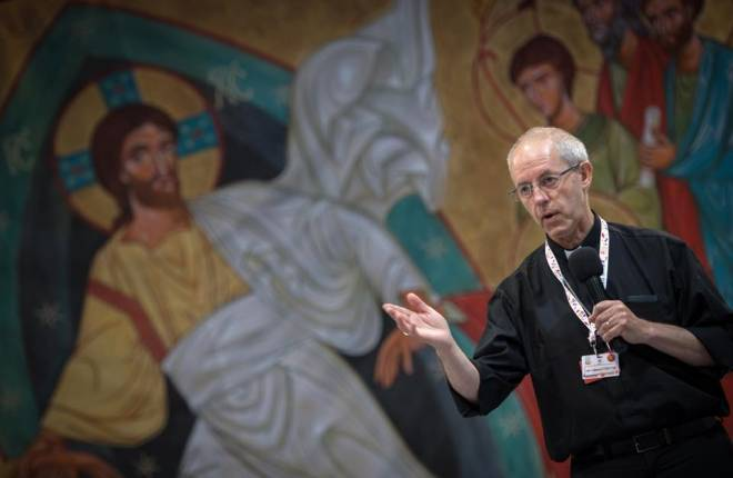 Justin Welby gives a speech in Poland