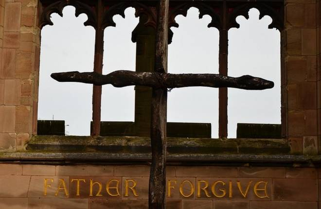 The Cross of Nails in the ruins of Coventry Cathedral