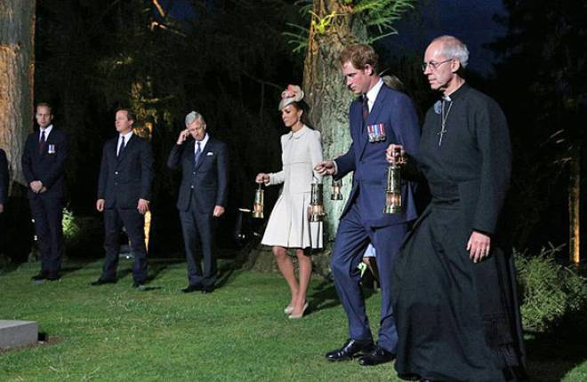 Archbishop Justin Welby with Prince Harry and the Duchess of Cambridge in Mons tonight.