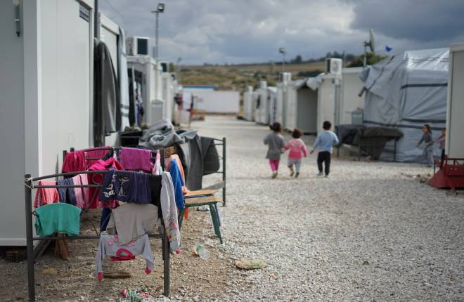 Syrian refugee camp in the outskirts of Athens.